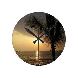 Hawaiian Island Ocean Sunset Round Clock