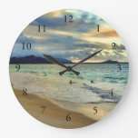 Hawaiian Island Sunset with Numbers Clocks