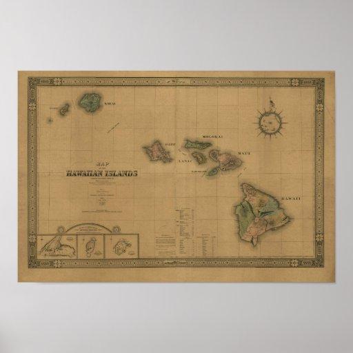 Hawaiian Islands, 1876, Vintage Hawaii Map Print