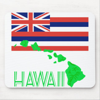 Hawaiian Islands And Flag Mouse Pad