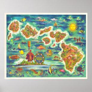 Hawaiian Islands Fun Map Poster