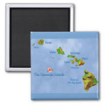 Hawaiian islands magnet 2 inch square magnet