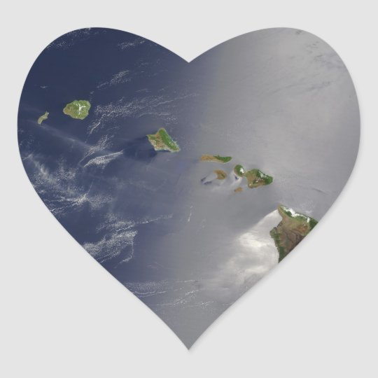 Hawaiian Islands Satellite View Heart Sticker