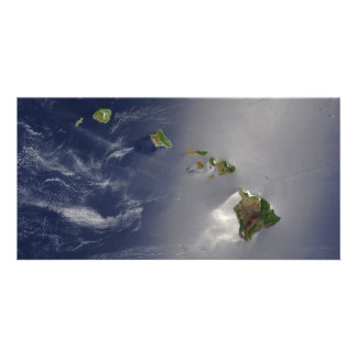 Hawaiian Islands Satellite View Picture Card