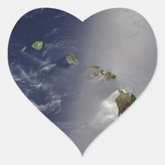Hawaiian Islands Satellite View Heart Stickers