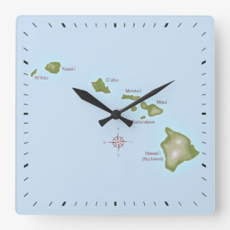 Hawaiian Islands Square Wall Clock