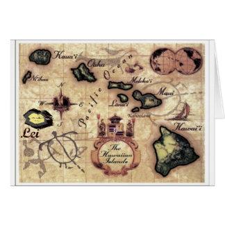 Hawaiian Islands vintage map with rarely seen Lei Card