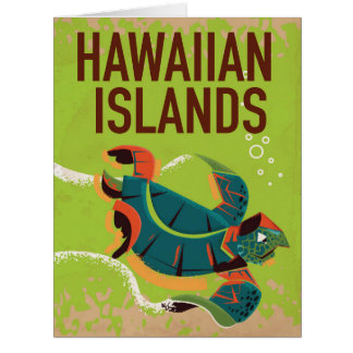 Hawaiian Islands Vintage Travel Poster. Card