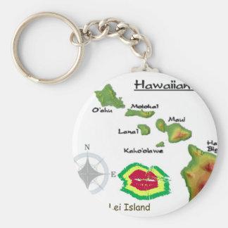 Hawaiian Islands with rarely seen Lei Island Print Keychain