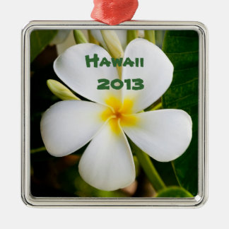 Hawaiian Keepsake Square Metal Christmas Ornament