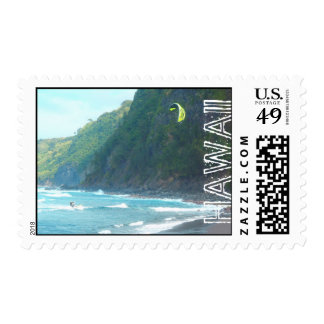 Hawaiian kite boarder tropical postage stamps