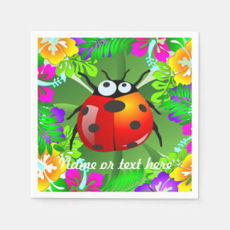 Hawaiian lady bug standing on a four leaf clover paper napkin