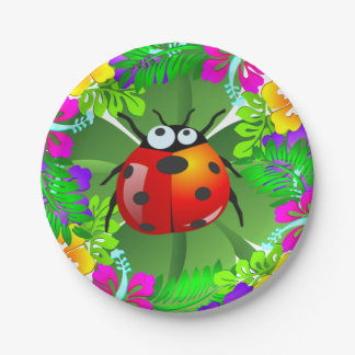 Hawaiian ladybug standing on a four leaf clover paper plate