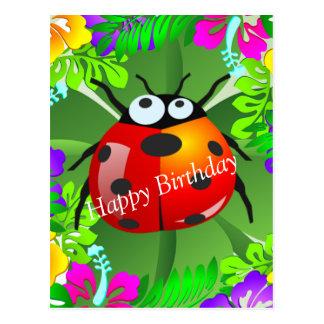 Hawaiian ladybug standing on a four leaf clover postcard
