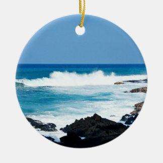 Hawaiian Lava Ocean Coast Line Hawaii Waves Double-Sided Ceramic Round Christmas Ornament