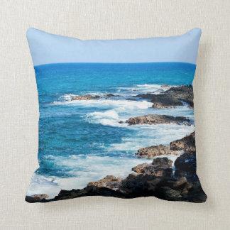 Hawaiian Lava Ocean Coast Line Hawaii Waves Pillow