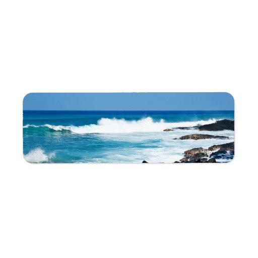Hawaiian Lava Rock and Coral Ocean - Hawaii Return Address Label
