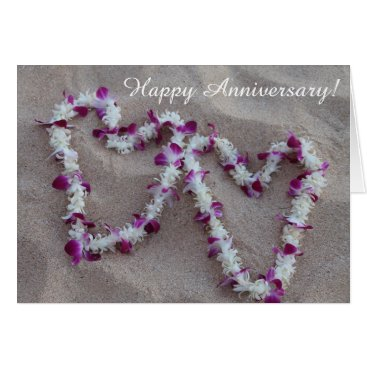 RusticAndPaw Hawaiian Lei Hearts in the Sand Anniversary Card