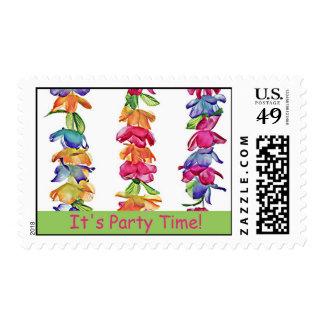 Hawaiian Leis - Party Time Invitation Postcard Stamp