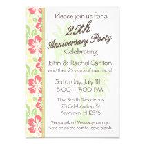 Hawaiian Luau 25th Anniversary Party Invitations