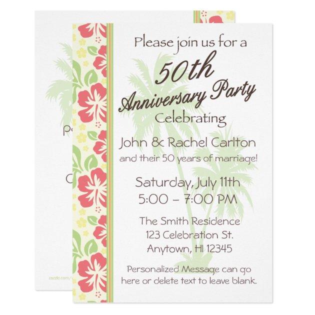 hawaiian luau 50th anniversary party invitations