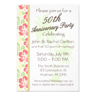 Hawaiian Luau 50th Anniversary Party Invitations