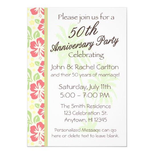 hawaiian luau 50th anniversary party invitations zazzle com