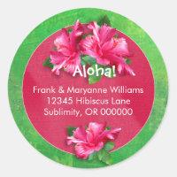 Hawaiian Luau Address Labels with Pink Hibiscus