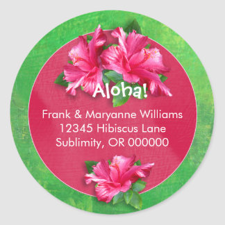 Hawaiian Luau Address Labels with Pink Hibiscus Classic Round Sticker