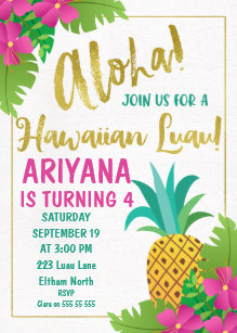 Hawaiian birthday cards greeting photo cards zazzle hawaiian luau birthday invitation m4hsunfo
