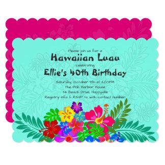 Hawaiian Luau Birthday Party for Her Invitations