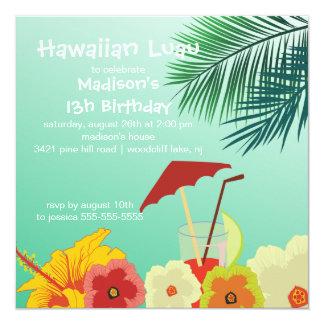 "Hawaiian Luau Birthday Party Invitation 5.25"" Square Invitation Card"