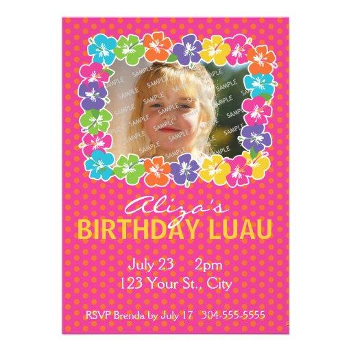 Hawaiian Luau Birthday Party Custom Invitation