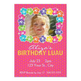 "Hawaiian Luau Birthday Party 5"" X 7"" Invitation Card"