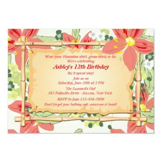 luau invitations,  luau announcements  invites, Birthday invitations