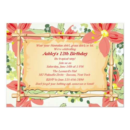 Orange Hawaiian Tropical Luau Personalised Party Invitations