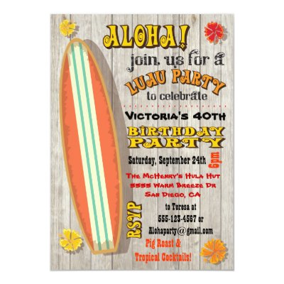 Aloha Surf Board Hawaiian Party Invitation – Hawaiian Birthday Party Invitations