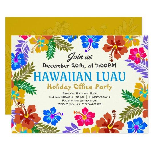 Hawaiian Luau Custom Party Hibiscus Invitations Zazzle Com