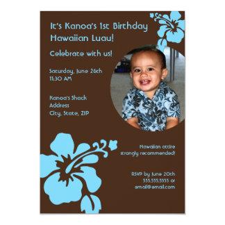 "Hawaiian Luau Custom Photo Birthday Invitation 5"" X 7"" Invitation Card"