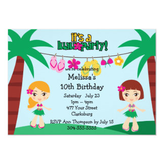 """Hawaiian Luau de los niños Invitación 5"""" X 7"""""""