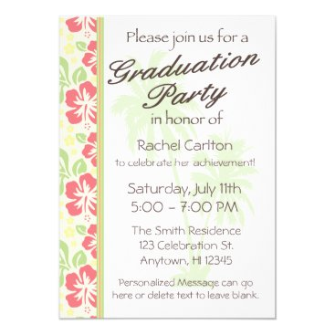 Beach Themed Hawaiian Luau Graduation Party Invitation