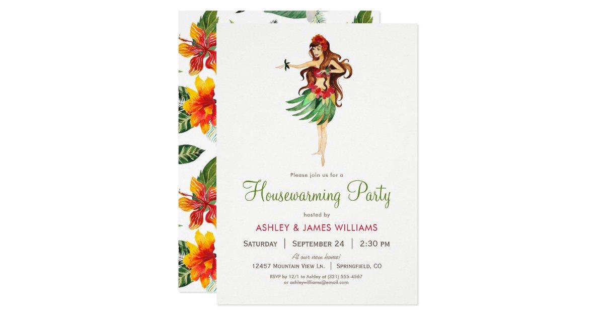 Hawaiian Luau Housewarming Party Invitation | Zazzle.com