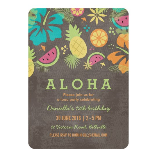 hawaiian luau kids party invitation zazzle com