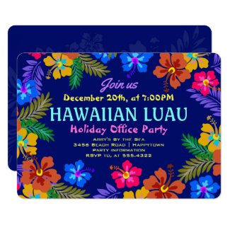 Hawaiian Luau Office Party Hibiscus Invitations