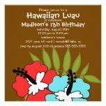 Hawaiian Luau Party Birthday Invitation