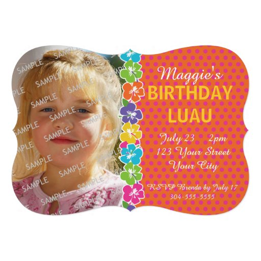 Hawaiian Luau Party Invites