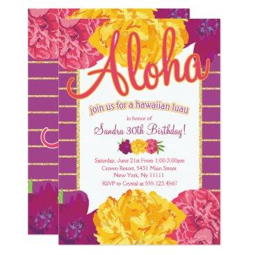 Hawaiian Themed Hawaiian Luau Party Invitations