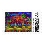 Hawaiian Luau Postage Stamps