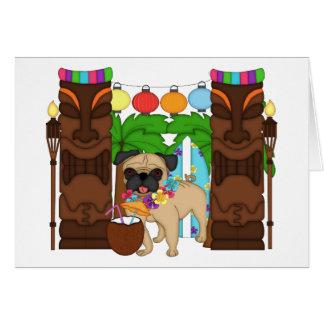 Hawaiian Luau Pug - Customizable Card