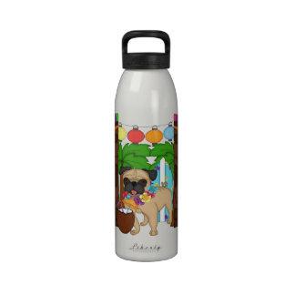 Hawaiian Luau Pug - Customizable Drinking Bottles
